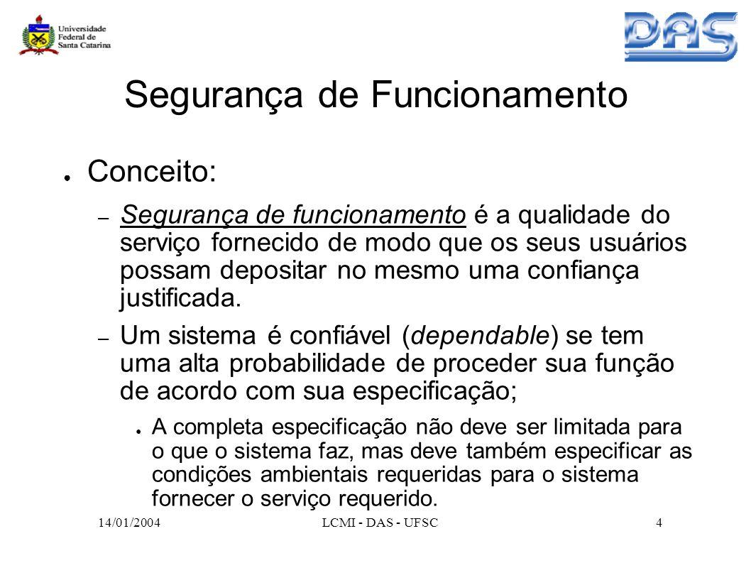 14/01/2004LCMI - DAS - UFSC35 Algumas Áreas de Pesquisa Middleware: Web Services e J2EE; Relação entre tolerância a faltas e segurança; Tolerância a Intrusões; Tolerância a faltas em novos modelos de sistemas distribuídos: – P2P (Peer-to-Peer); – Sistemas móveis; – Grades computacionais.