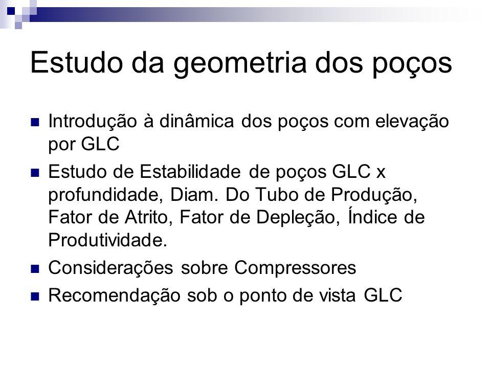 Estudo da geometria dos poços Introdução à dinâmica dos poços com elevação por GLC Estudo de Estabilidade de poços GLC x profundidade, Diam. Do Tubo d