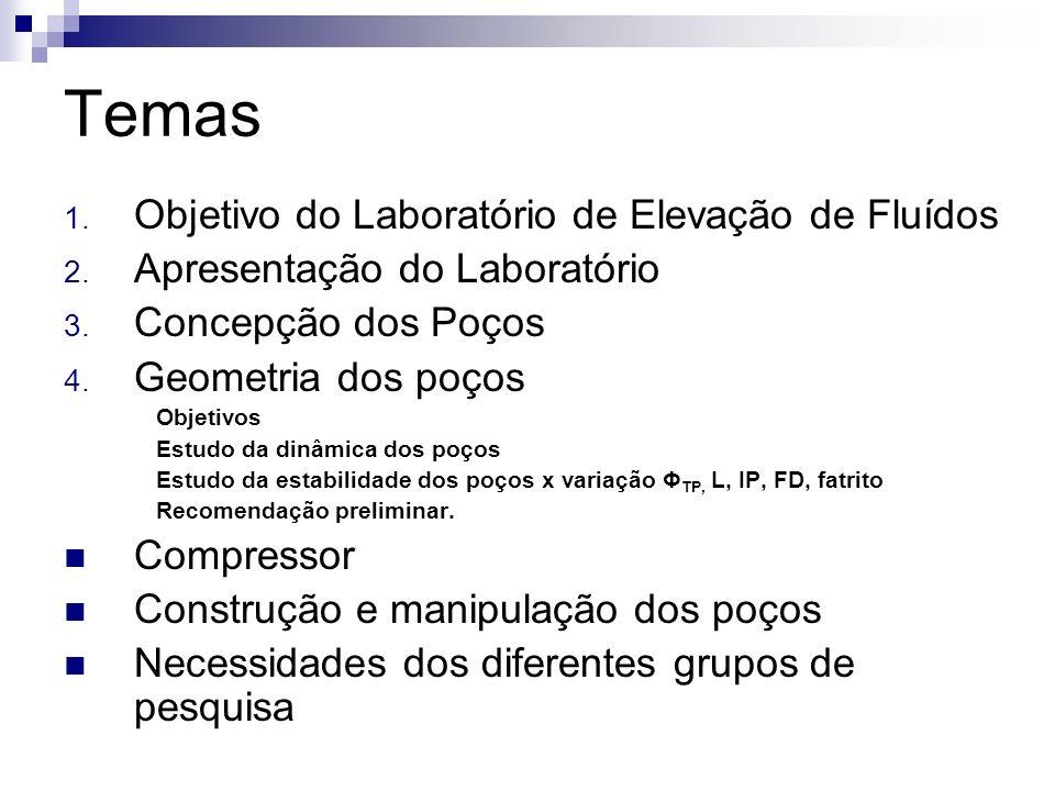 Temas 1. Objetivo do Laboratório de Elevação de Fluídos 2. Apresentação do Laboratório 3. Concepção dos Poços 4. Geometria dos poços Objetivos Estudo