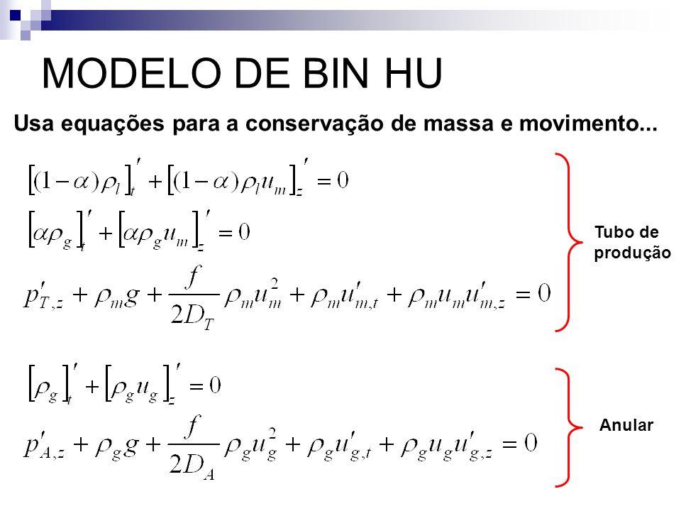 MODELO DE BIN HU Usa equações para a conservação de massa e movimento... Tubo de produção Anular