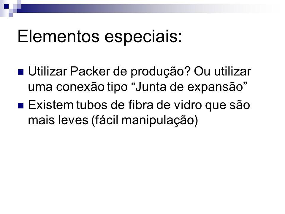 Elementos especiais: Utilizar Packer de produção? Ou utilizar uma conexão tipo Junta de expansão Existem tubos de fibra de vidro que são mais leves (f
