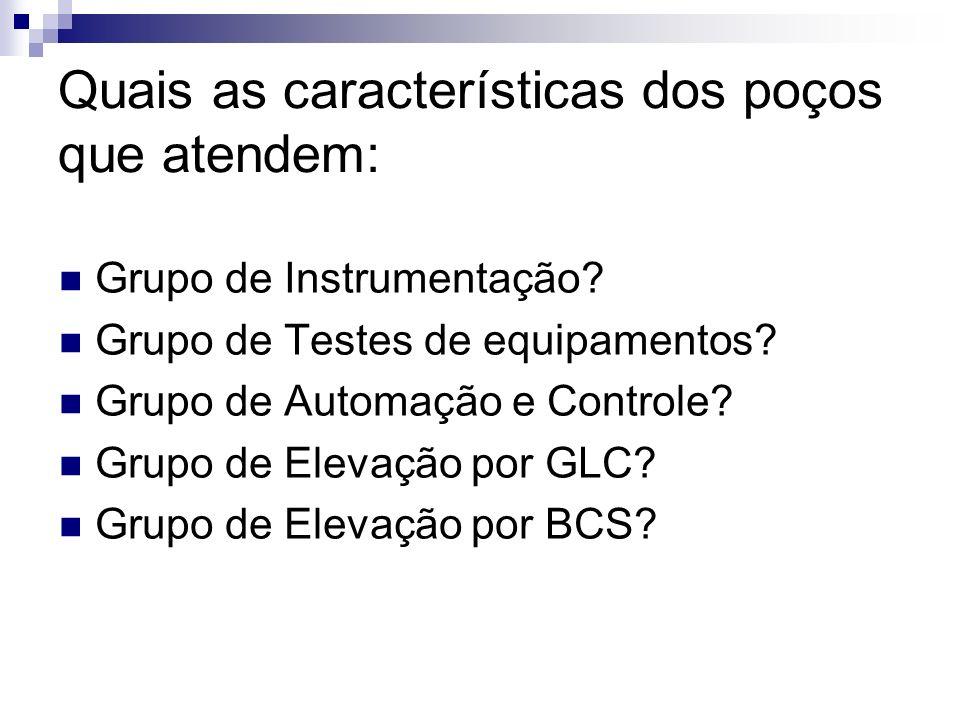 Quais as características dos poços que atendem: Grupo de Instrumentação? Grupo de Testes de equipamentos? Grupo de Automação e Controle? Grupo de Elev