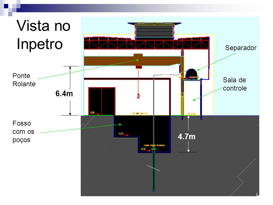 Vista no Inpetro Separador Fosso com os poços Ponte Rolante Sala de controle 4.7m 6.4m