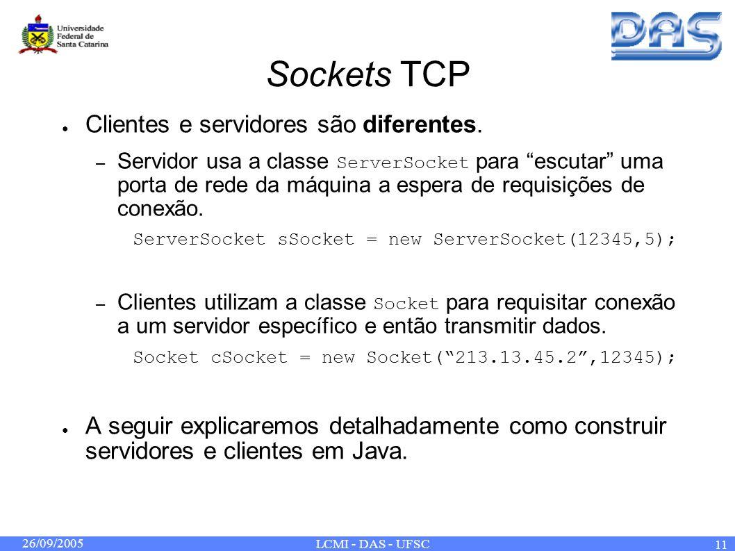 26/09/2005 LCMI - DAS - UFSC 11 Sockets TCP Clientes e servidores são diferentes. – Servidor usa a classe ServerSocket para escutar uma porta de rede