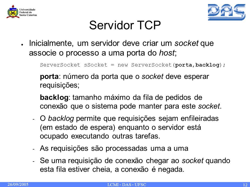 26/09/2005 LCMI - DAS - UFSC 12 Servidor TCP Inicialmente, um servidor deve criar um socket que associe o processo a uma porta do host; ServerSocket sSocket = new ServerSocket(porta,backlog); porta: número da porta que o socket deve esperar requisições; backlog: tamanho máximo da fila de pedidos de conexão que o sistema pode manter para este socket.
