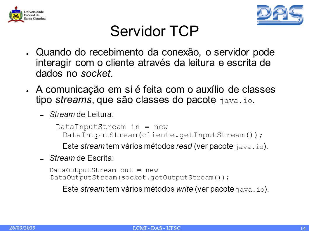 26/09/2005 LCMI - DAS - UFSC 14 Servidor TCP Quando do recebimento da conexão, o servidor pode interagir com o cliente através da leitura e escrita de