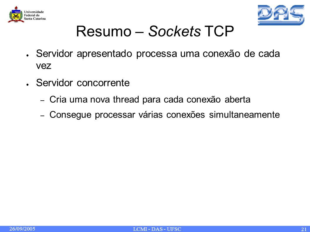 26/09/2005 LCMI - DAS - UFSC 21 Resumo – Sockets TCP Servidor apresentado processa uma conexão de cada vez Servidor concorrente – Cria uma nova thread para cada conexão aberta – Consegue processar várias conexões simultaneamente