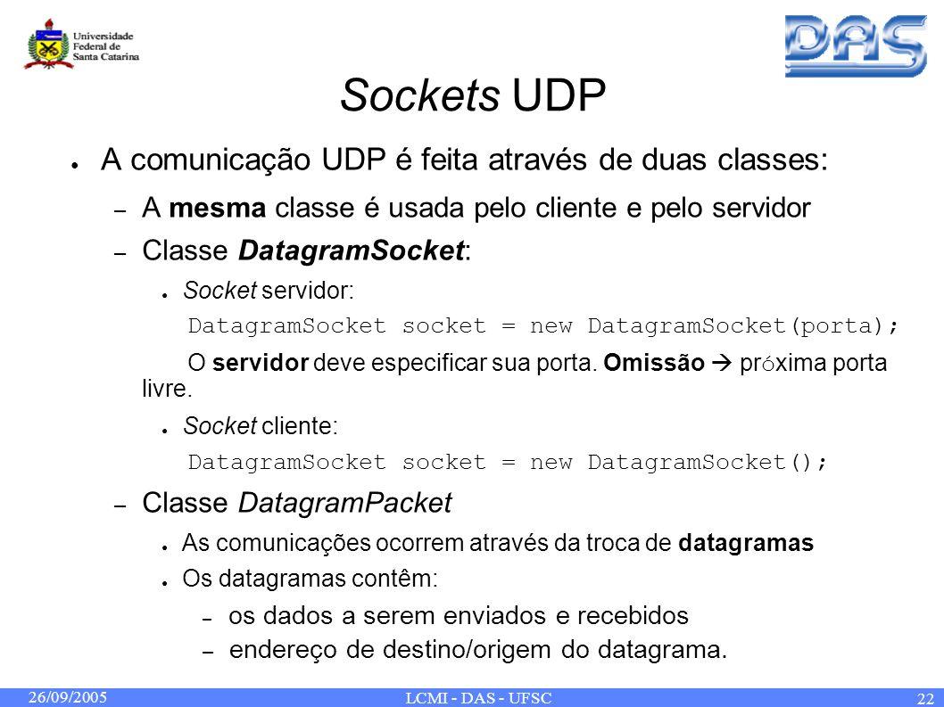 26/09/2005 LCMI - DAS - UFSC 22 Sockets UDP A comunicação UDP é feita através de duas classes: – A mesma classe é usada pelo cliente e pelo servidor – Classe DatagramSocket: Socket servidor: DatagramSocket socket = new DatagramSocket(porta); O servidor deve especificar sua porta.