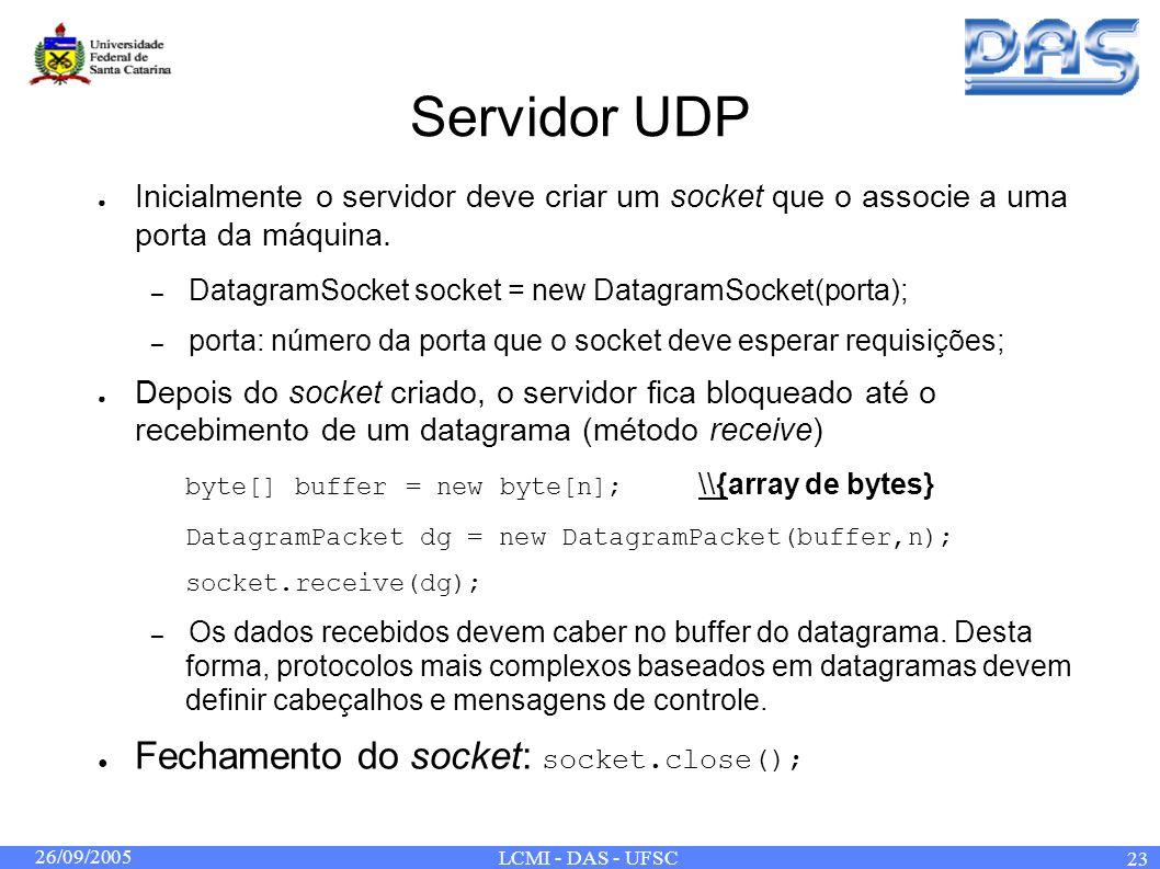 26/09/2005 LCMI - DAS - UFSC 23 Servidor UDP Inicialmente o servidor deve criar um socket que o associe a uma porta da máquina. – DatagramSocket socke