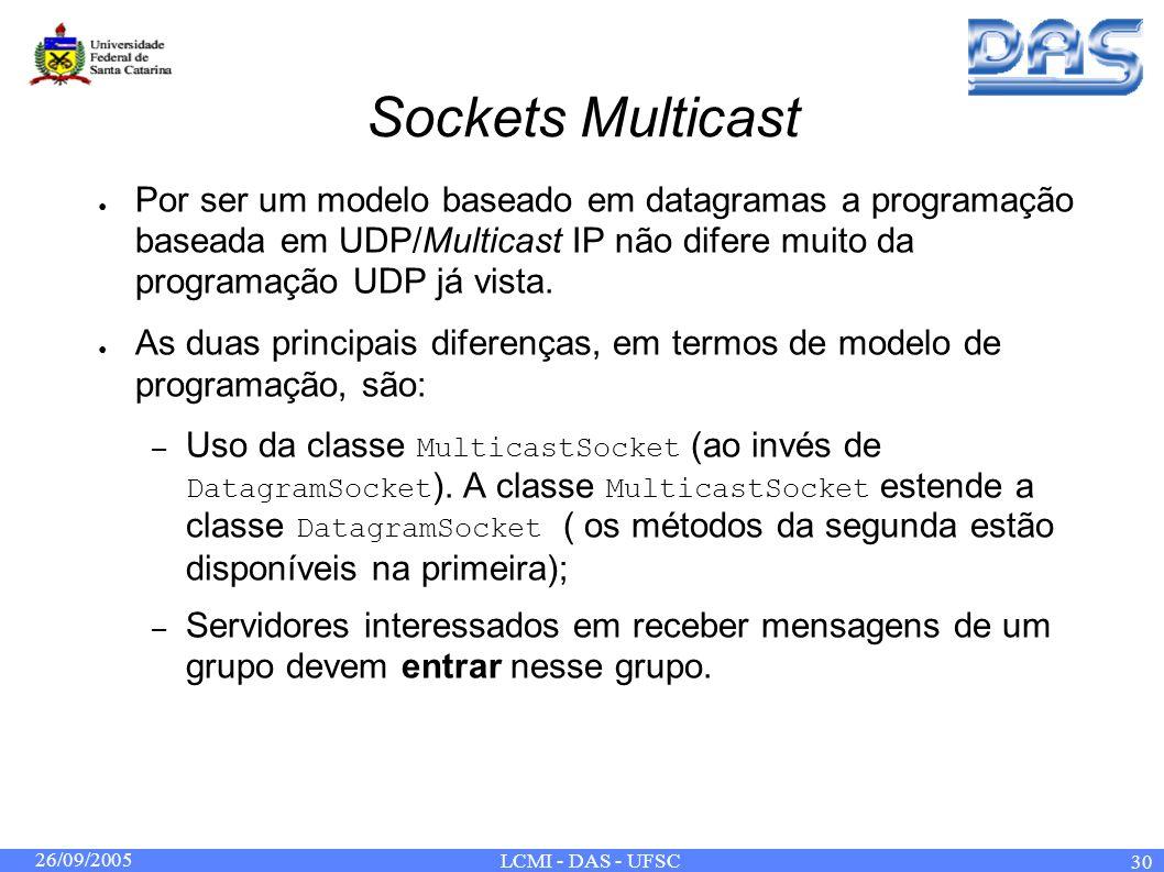 26/09/2005 LCMI - DAS - UFSC 30 Sockets Multicast Por ser um modelo baseado em datagramas a programação baseada em UDP/Multicast IP não difere muito da programação UDP já vista.