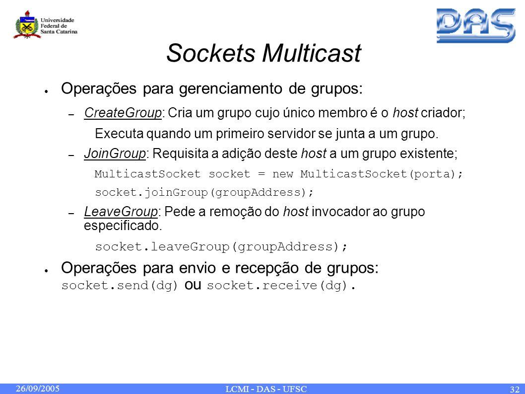26/09/2005 LCMI - DAS - UFSC 32 Sockets Multicast Operações para gerenciamento de grupos: – CreateGroup: Cria um grupo cujo único membro é o host criador; Executa quando um primeiro servidor se junta a um grupo.