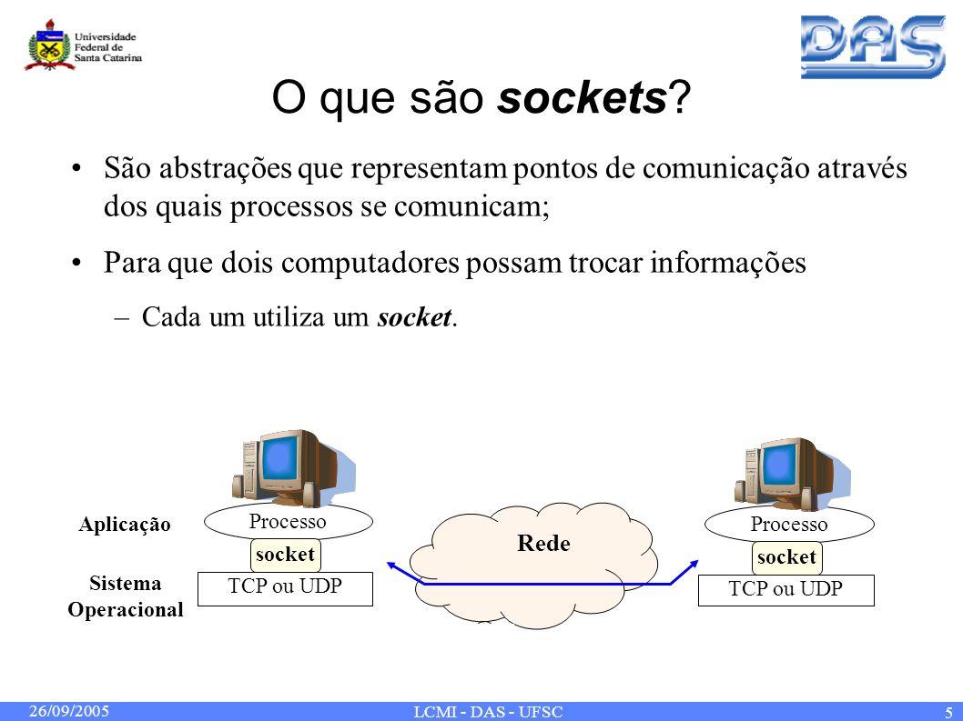 26/09/2005 LCMI - DAS - UFSC 5 O que são sockets? São abstrações que representam pontos de comunicação através dos quais processos se comunicam; Para
