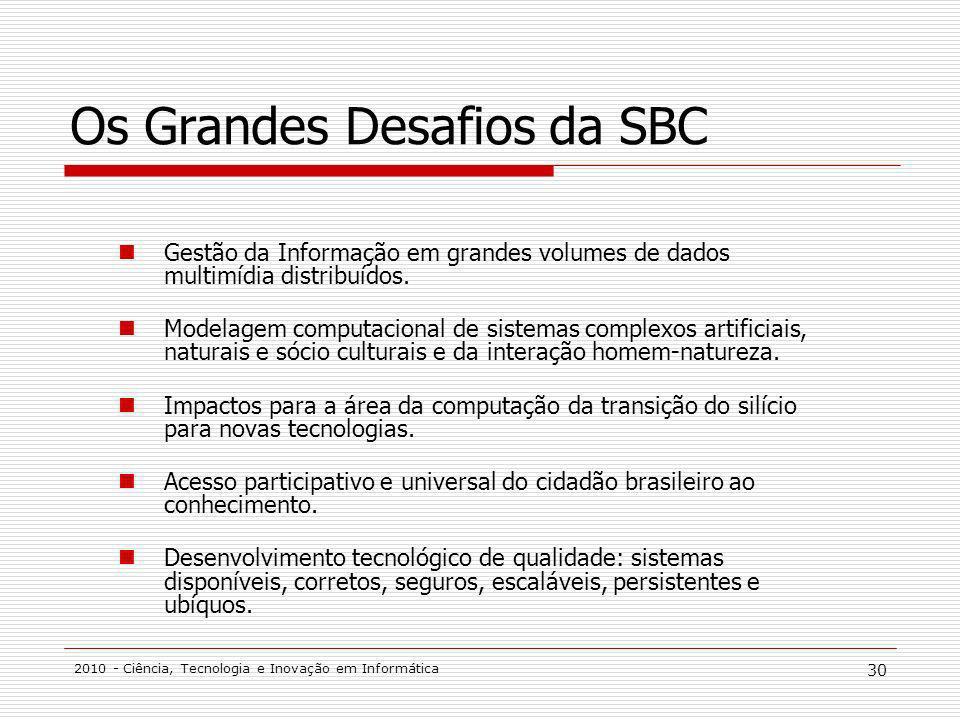 2010 - Ciência, Tecnologia e Inovação em Informática 30 Os Grandes Desafios da SBC Gestão da Informação em grandes volumes de dados multimídia distribuídos.