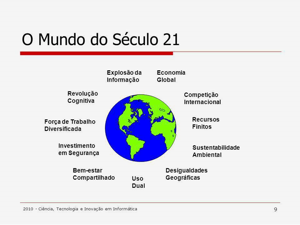 2010 - Ciência, Tecnologia e Inovação em Informática 9 O Mundo do Século 21 Revolução Cognitiva Força de Trabalho Diversificada Investimento em Segura