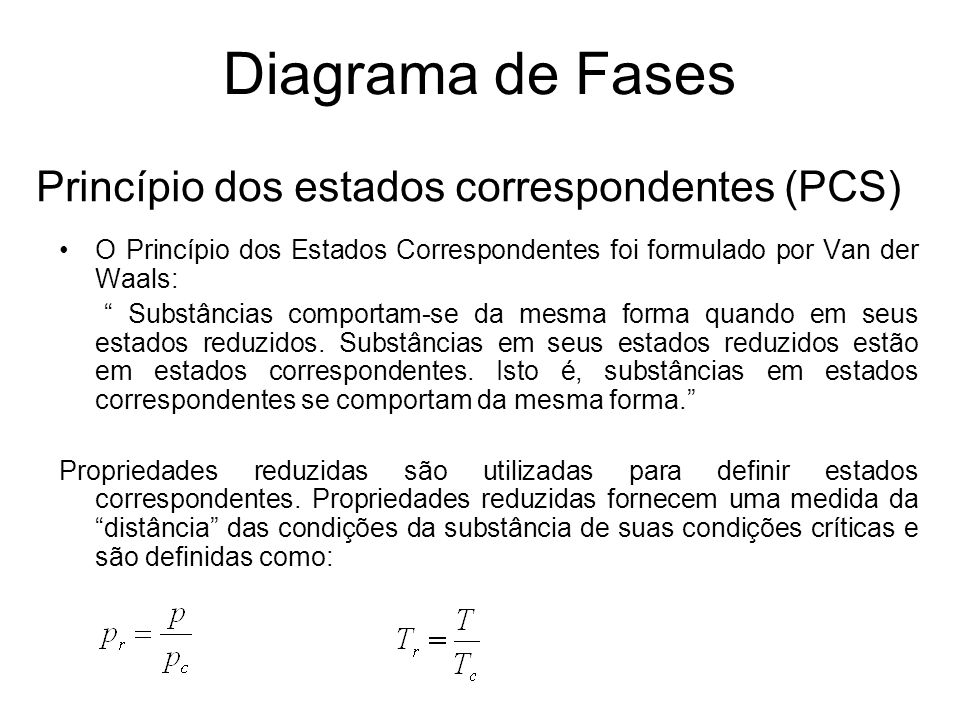 Princípio dos estados correspondentes (PCS) O Princípio dos Estados Correspondentes foi formulado por Van der Waals: Substâncias comportam-se da mesma