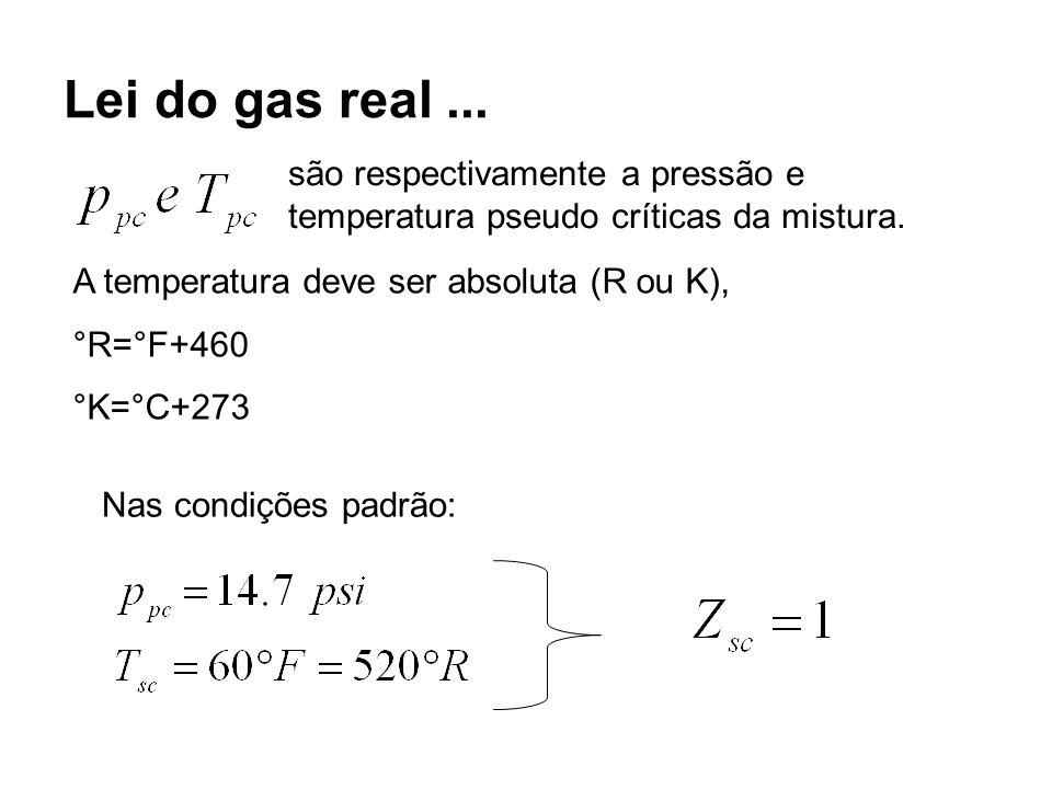 Lei do gas real... são respectivamente a pressão e temperatura pseudo críticas da mistura. A temperatura deve ser absoluta (R ou K), °R=°F+460 °K=°C+2