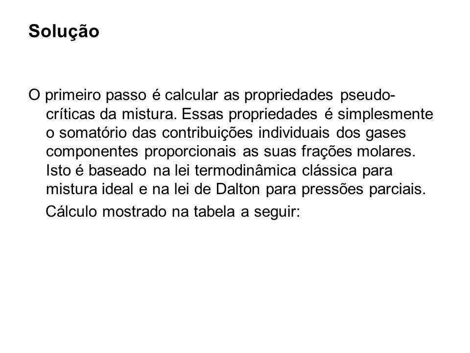 Solução O primeiro passo é calcular as propriedades pseudo- críticas da mistura. Essas propriedades é simplesmente o somatório das contribuições indiv