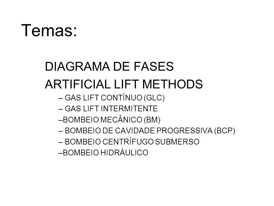 Temas: DIAGRAMA DE FASES ARTIFICIAL LIFT METHODS – GAS LIFT CONTÍNUO (GLC) – GAS LIFT INTERMITENTE –BOMBEIO MECÂNICO (BM) – BOMBEIO DE CAVIDADE PROGRE