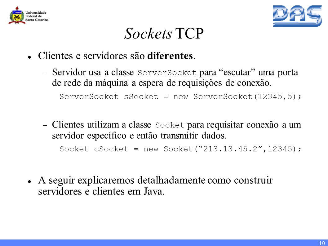 10 Sockets TCP Clientes e servidores são diferentes.