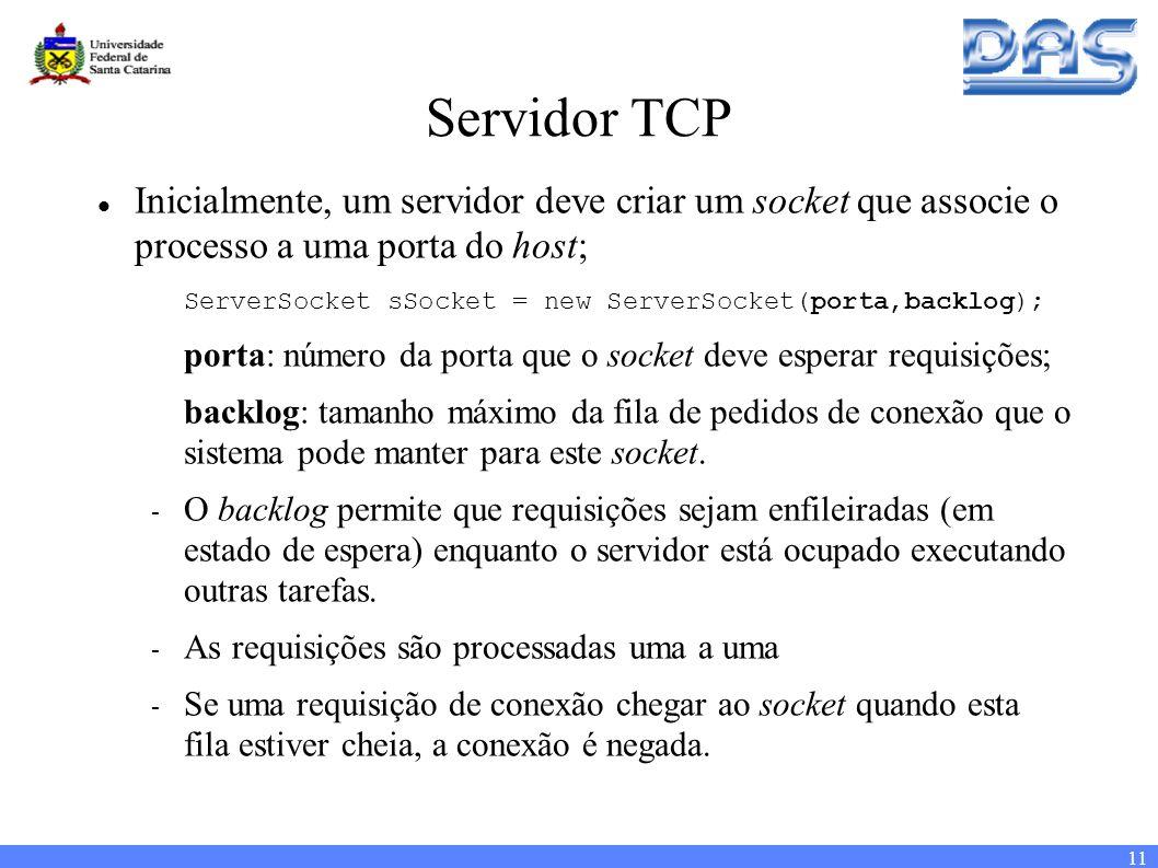 11 Servidor TCP Inicialmente, um servidor deve criar um socket que associe o processo a uma porta do host; ServerSocket sSocket = new ServerSocket(porta,backlog); porta: número da porta que o socket deve esperar requisições; backlog: tamanho máximo da fila de pedidos de conexão que o sistema pode manter para este socket.