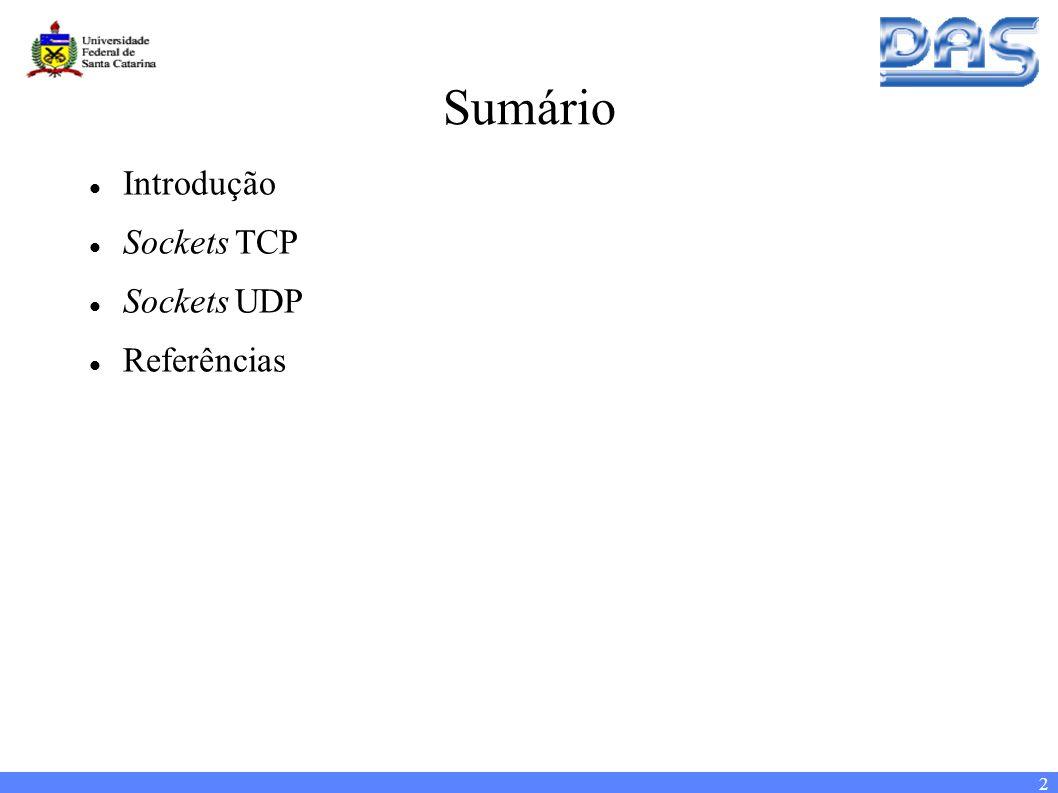 2 Sumário Introdução Sockets TCP Sockets UDP Referências