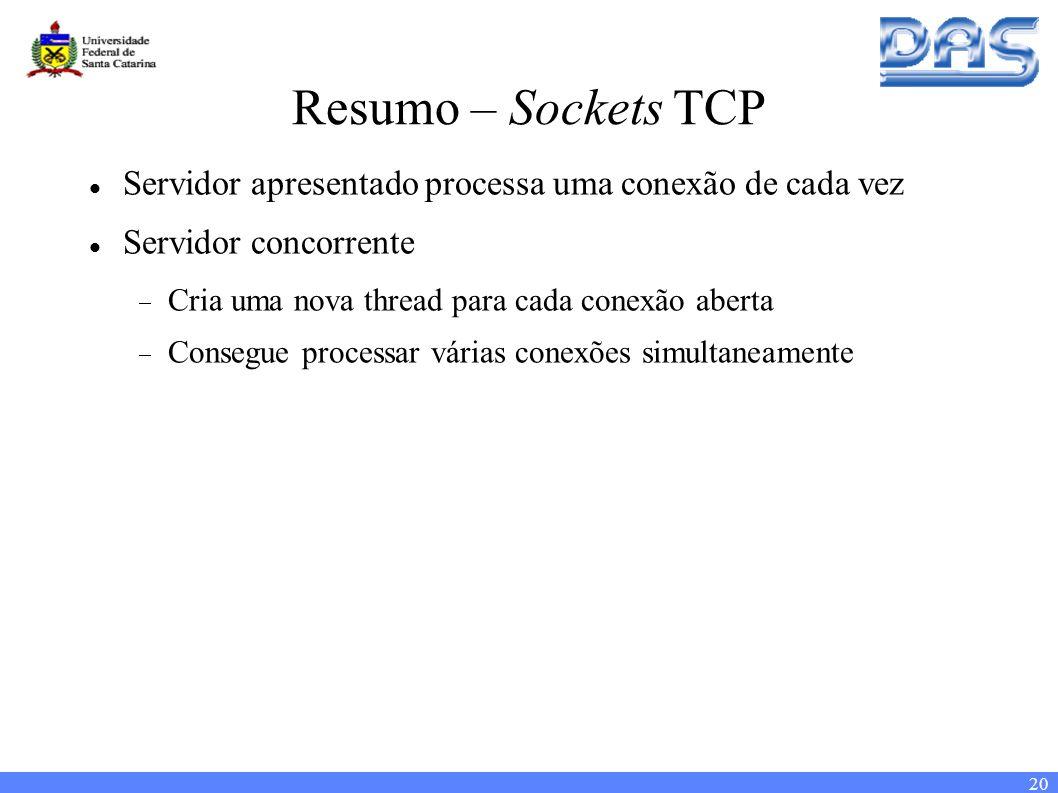20 Resumo – Sockets TCP Servidor apresentado processa uma conexão de cada vez Servidor concorrente Cria uma nova thread para cada conexão aberta Consegue processar várias conexões simultaneamente