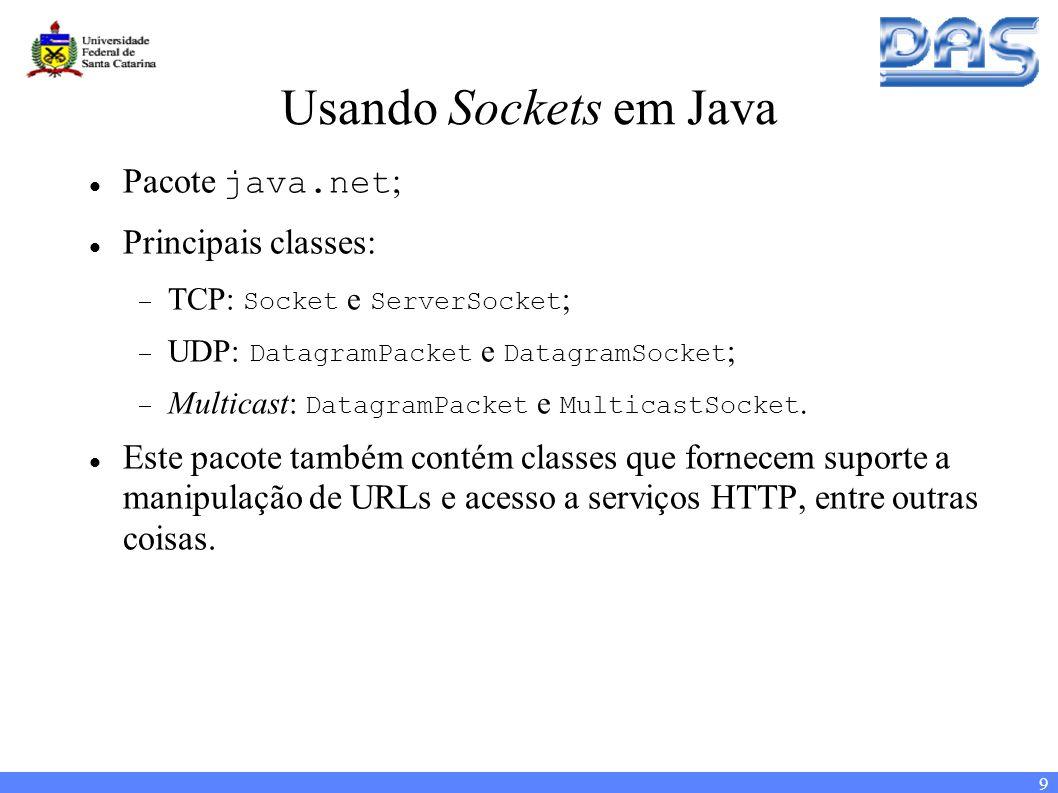 9 Usando Sockets em Java Pacote java.net ; Principais classes: TCP: Socket e ServerSocket ; UDP: DatagramPacket e DatagramSocket ; Multicast: DatagramPacket e MulticastSocket.