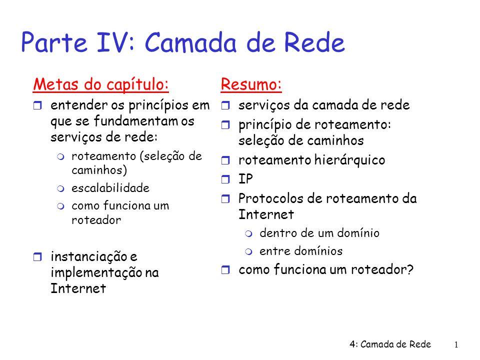 4: Camada de Rede1 Metas do capítulo: entender os princípios em que se fundamentam os serviços de rede: roteamento (seleção de caminhos) escalabilidad