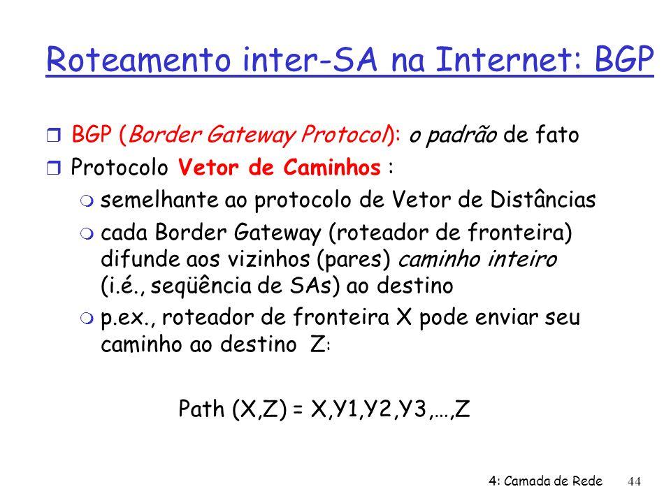 4: Camada de Rede44 Roteamento inter-SA na Internet: BGP BGP (Border Gateway Protocol): o padrão de fato Protocolo Vetor de Caminhos : semelhante ao protocolo de Vetor de Distâncias cada Border Gateway (roteador de fronteira) difunde aos vizinhos (pares) caminho inteiro (i.é., seqüência de SAs) ao destino p.ex., roteador de fronteira X pode enviar seu caminho ao destino Z : Path (X,Z) = X,Y1,Y2,Y3,…,Z