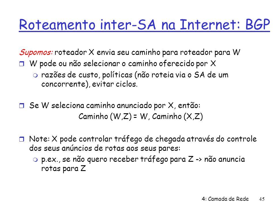 4: Camada de Rede45 Roteamento inter-SA na Internet: BGP Supomos: roteador X envia seu caminho para roteador para W W pode ou não selecionar o caminho oferecido por X razões de custo, políticas (não roteia via o SA de um concorrente), evitar ciclos.