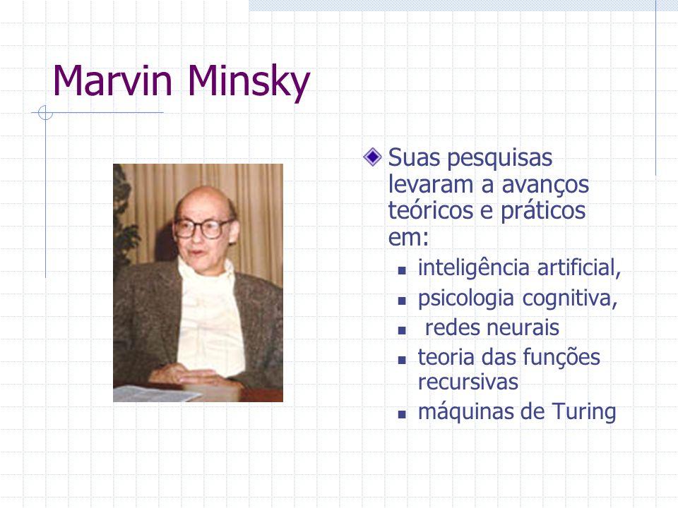 Marvin Minsky 09.ago.1927 Formação de Matemático Professor no Massachusetts Institute of Technology (MIT) - 1958 Laboratório de Inteligência Artificial do MIT (1959).