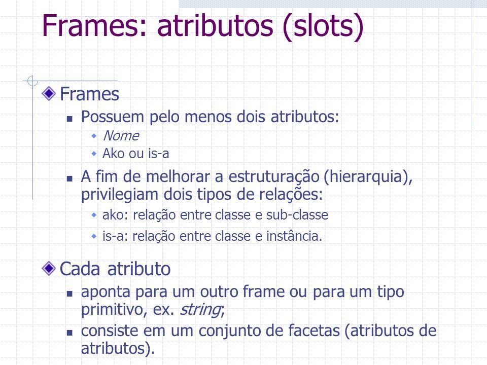 Frames: atributos (slots) Frames Possuem pelo menos dois atributos: Nome Ako ou is-a A fim de melhorar a estruturação (hierarquia), privilegiam dois tipos de relações: ako: relação entre classe e sub-classe is-a: relação entre classe e instância.