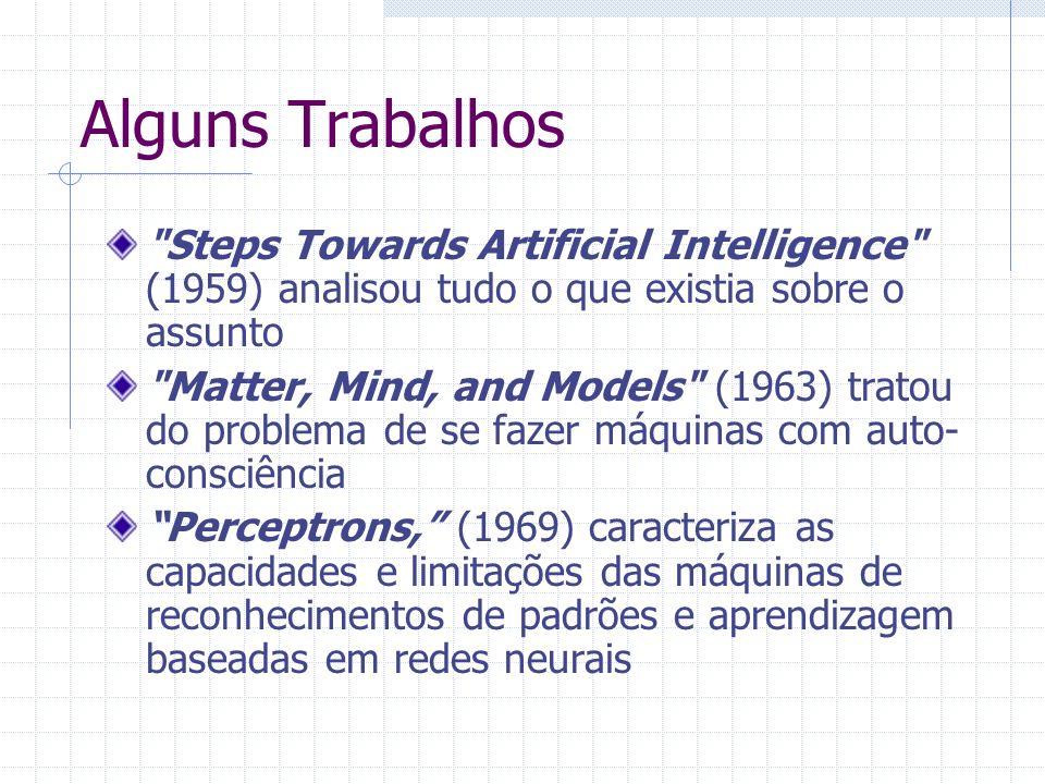 Alguns Trabalhos Steps Towards Artificial Intelligence (1959) analisou tudo o que existia sobre o assunto Matter, Mind, and Models (1963) tratou do problema de se fazer máquinas com auto- consciência Perceptrons, (1969) caracteriza as capacidades e limitações das máquinas de reconhecimentos de padrões e aprendizagem baseadas em redes neurais