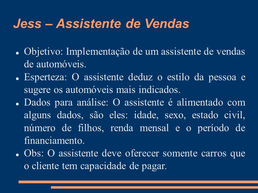 Jess – Assistente de Vendas Objetivo: Implementação de um assistente de vendas de automóveis. Esperteza: O assistente deduz o estilo da pessoa e suger
