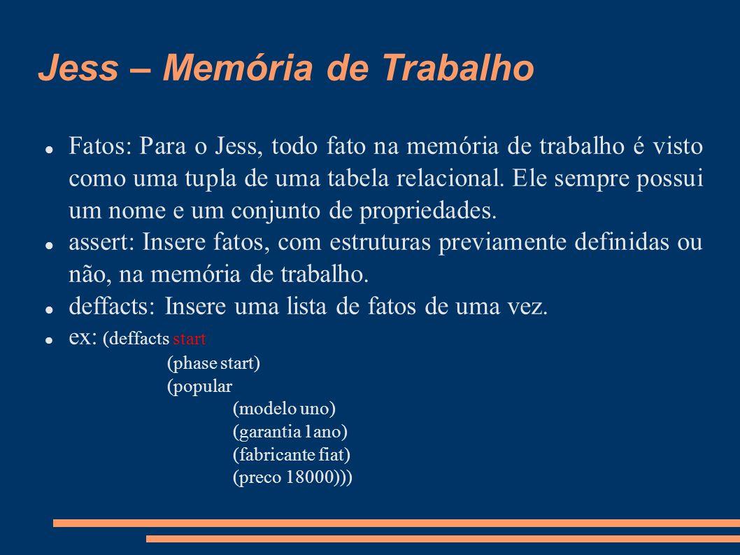 Jess – Memória de Trabalho Fatos: Para o Jess, todo fato na memória de trabalho é visto como uma tupla de uma tabela relacional. Ele sempre possui um