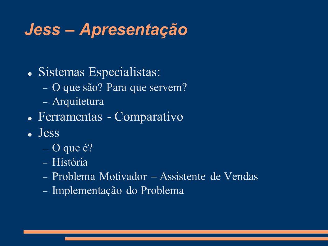 Jess – Apresentação Sistemas Especialistas: O que são? Para que servem? Arquitetura Ferramentas - Comparativo Jess O que é? História Problema Motivado