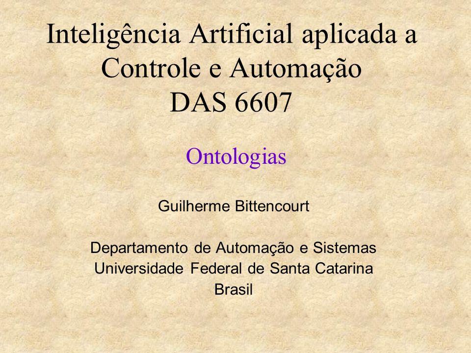 Inteligência Artificial aplicada a Controle e Automação DAS 6607 Ontologias Guilherme Bittencourt Departamento de Automação e Sistemas Universidade Fe