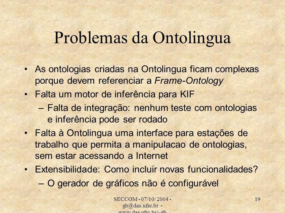 SECCOM - 07/10/ 2004 - gb@das.ufsc.br - www.das.ufsc.br/~gb 19 Problemas da Ontolingua As ontologias criadas na Ontolingua ficam complexas porque deve