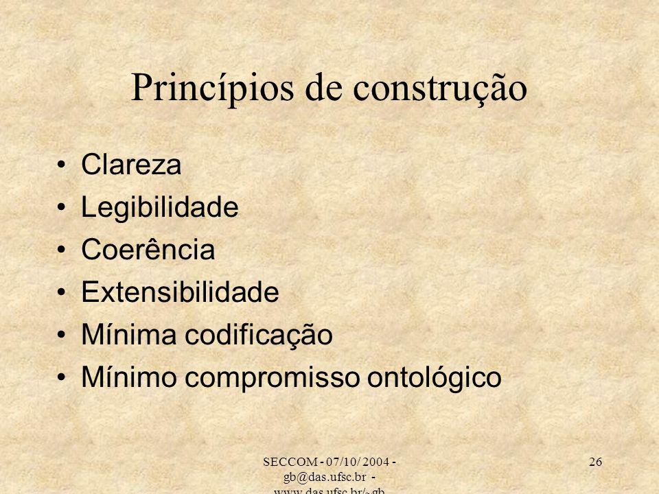 SECCOM - 07/10/ 2004 - gb@das.ufsc.br - www.das.ufsc.br/~gb 26 Princípios de construção Clareza Legibilidade Coerência Extensibilidade Mínima codifica