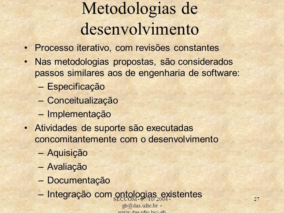 SECCOM - 07/10/ 2004 - gb@das.ufsc.br - www.das.ufsc.br/~gb 27 Metodologias de desenvolvimento Processo iterativo, com revisões constantes Nas metodol