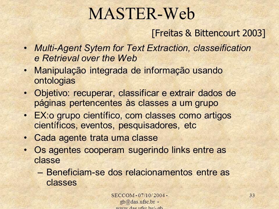 SECCOM - 07/10/ 2004 - gb@das.ufsc.br - www.das.ufsc.br/~gb 33 MASTER-Web Multi-Agent Sytem for Text Extraction, classeification e Retrieval over the