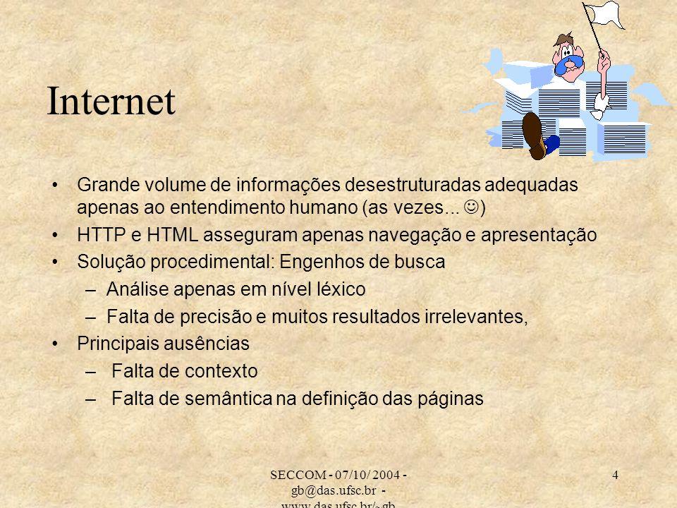 SECCOM - 07/10/ 2004 - gb@das.ufsc.br - www.das.ufsc.br/~gb 4 Internet Grande volume de informações desestruturadas adequadas apenas ao entendimento h