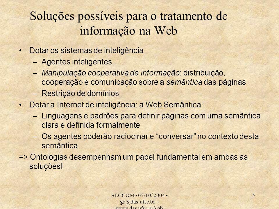 SECCOM - 07/10/ 2004 - gb@das.ufsc.br - www.das.ufsc.br/~gb 5 Soluções possíveis para o tratamento de informação na Web Dotar os sistemas de inteligên