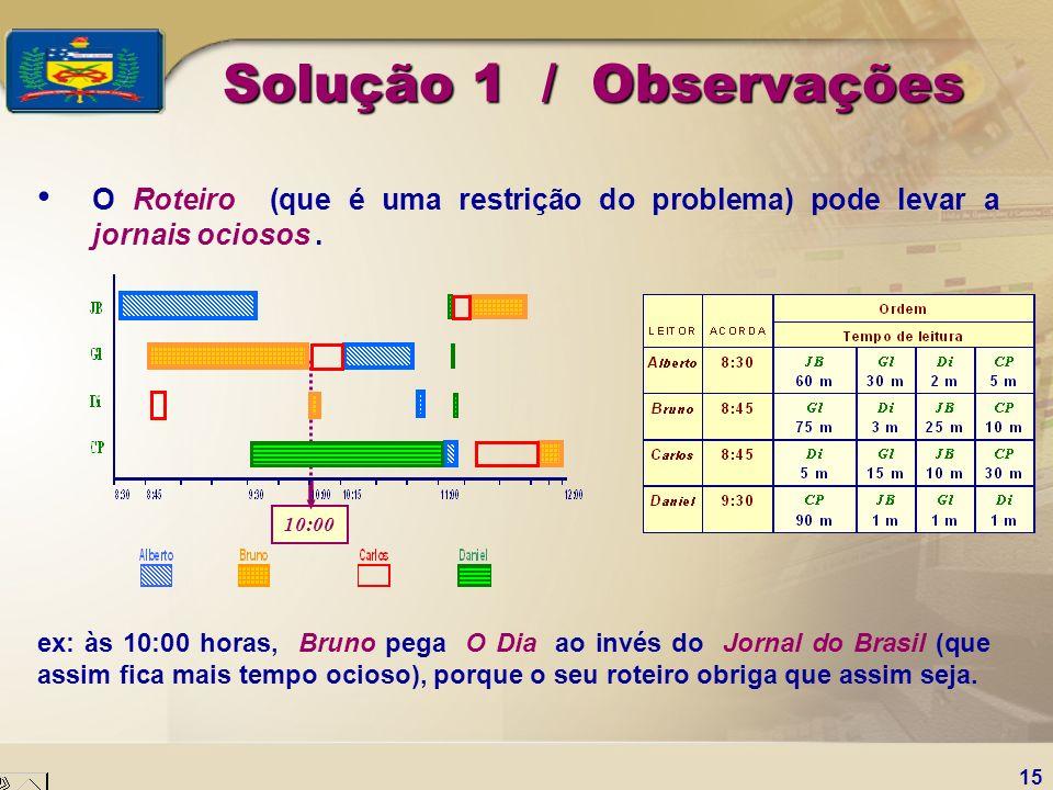 15 Solução 1 / Observações O Roteiro (que é uma restrição do problema) pode levar a jornais ociosos. ex: às 10:00 horas, Bruno pega O Dia ao invés do