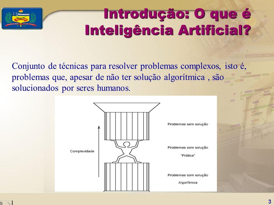 3 Introdução: O que é Inteligência Artificial? Conjunto de técnicas para resolver problemas complexos, isto é, problemas que, apesar de não ter soluçã