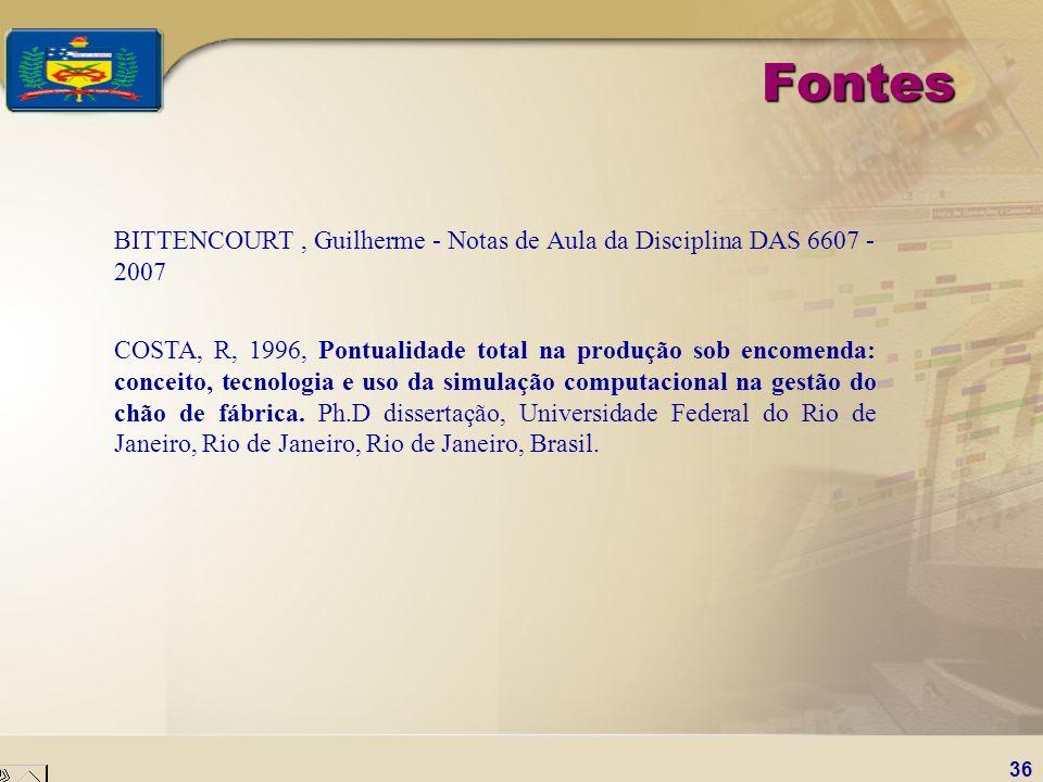 36 Fontes BITTENCOURT, Guilherme - Notas de Aula da Disciplina DAS 6607 - 2007 COSTA, R, 1996, Pontualidade total na produção sob encomenda: conceito,