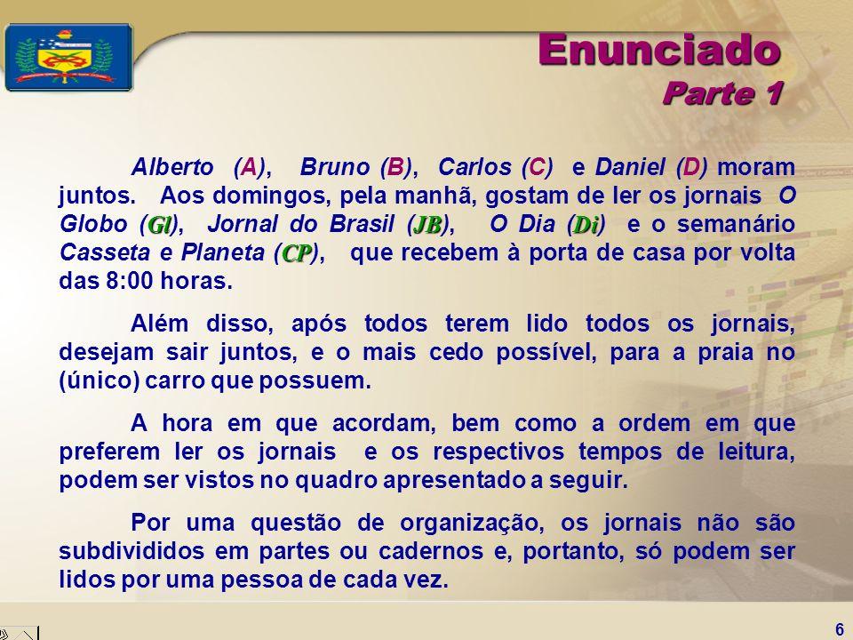 6 Enunciado Parte 1 GlJBDi CP Alberto (A), Bruno (B), Carlos (C) e Daniel (D) moram juntos. Aos domingos, pela manhã, gostam de ler os jornais O Globo