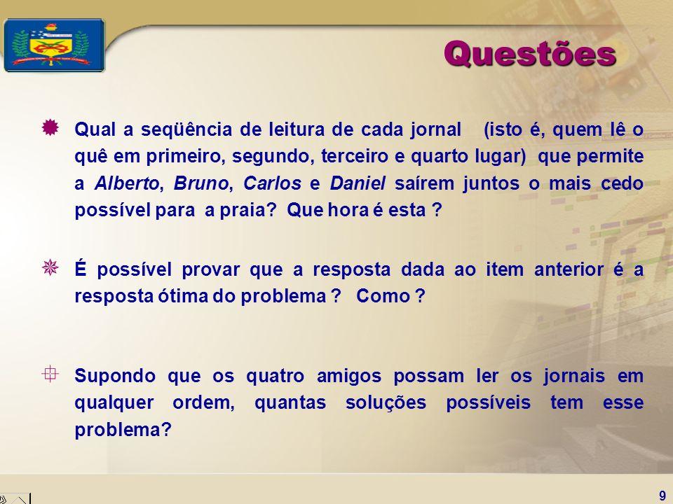 9 Questões ® Qual a seqüência de leitura de cada jornal (isto é, quem lê o quê em primeiro, segundo, terceiro e quarto lugar) que permite a Alberto, B