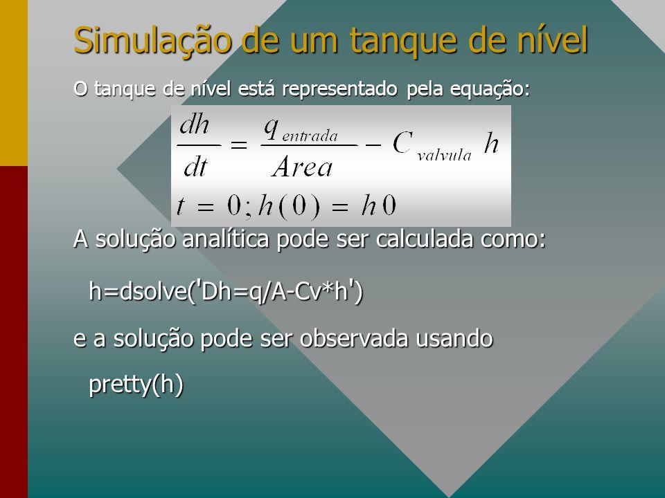 Simulação de um tanque de nível O tanque de nível está representado pela equação: A solução analítica pode ser calculada como: h=dsolve( ' Dh=q/A-Cv*h