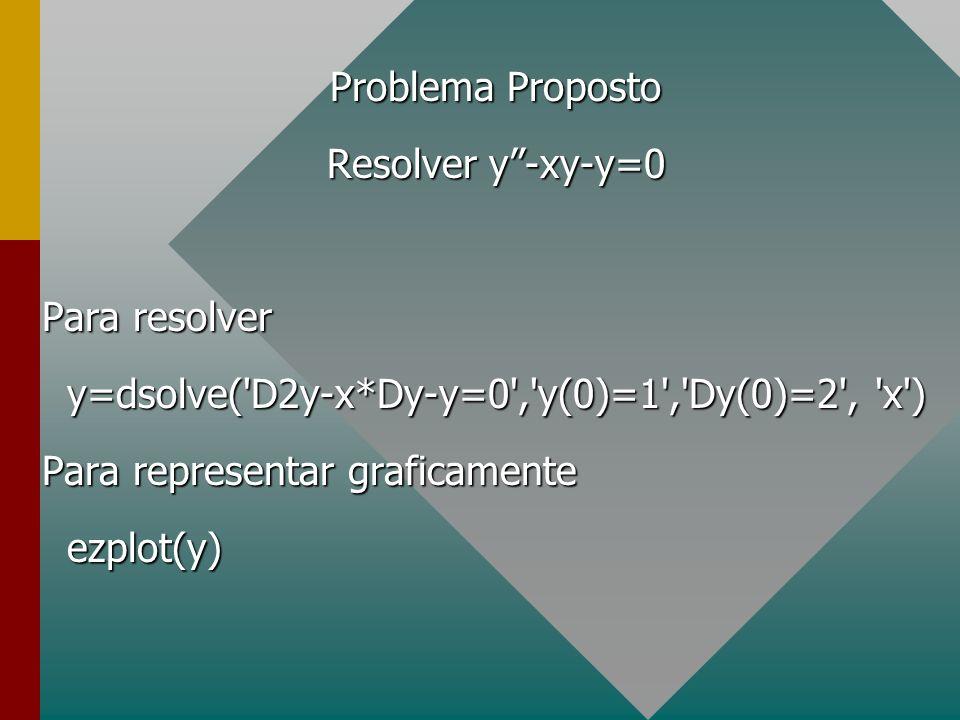 Problema Proposto Resolver y-xy-y=0 Para resolver y=dsolve('D2y-x*Dy-y=0','y(0)=1','Dy(0)=2', 'x') y=dsolve('D2y-x*Dy-y=0','y(0)=1','Dy(0)=2', 'x') Pa